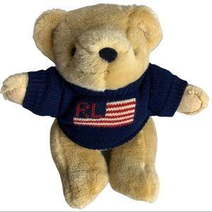 Ralph Lauren USA Flag Sweater Jointed Teddy Bear Flag Plush Stuffed 1996